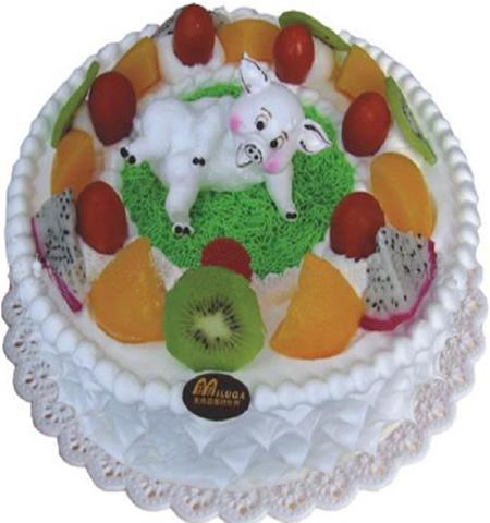 市区免运费 去购买 花材包装: 鲜奶水果蛋糕:可爱生肖小猪猪装
