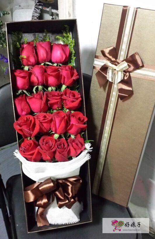 订单编号:21109125007 花材:19支红玫瑰鲜花,长方形高档礼盒 包装
